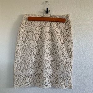 Cream Lace Pencil Skirt (S)